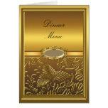 Dinner Menu Card Gold Damask Floral