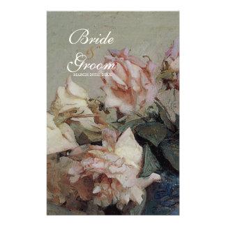 Dinner Menu Card - Impressionist Cream Pink Roses