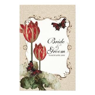 Dinner Menu Card - Tan n Cream Red Tulip Damask