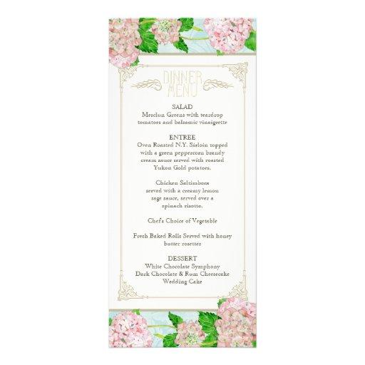 Dinner Menu Pink Hydrangea Lace Floral Formal Custom Rack Cards