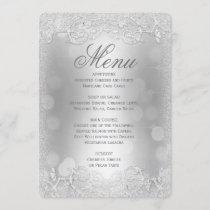 Dinner Menu | Silver Faux Glitter