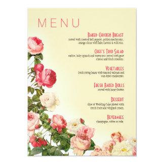 Dinner Menu Vintage Floral Romance Pink Roses Card