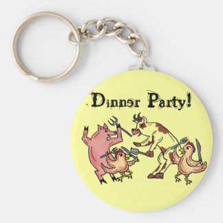 Dinner Party animal humor keychain