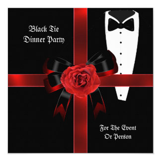 Dinner Party Formal Red Black Tie Corporate Invite