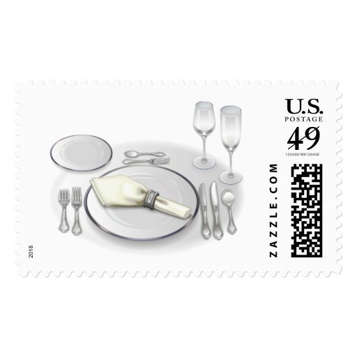 Dinner Party Invitation Postage Stamps