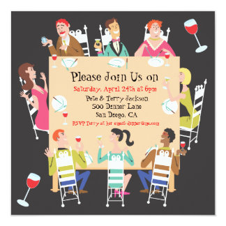 Dinner Party Invitation with table and friends
