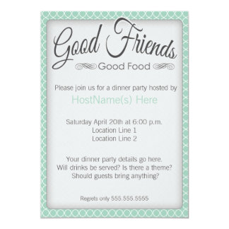 Dinner Party Invitations in Mint