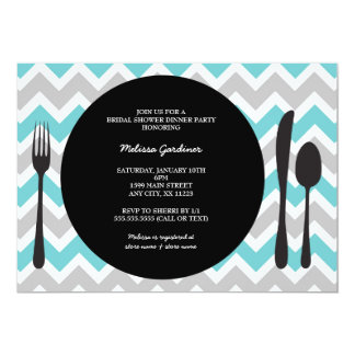 Dinner Party Invite / place setting / turquoise