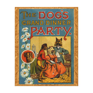 Dinner Party Vintage dogs Stretched Canvas Print
