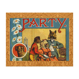 Dinner Party Vintage dogs Gallery Wrapped Canvas