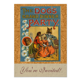 "Dinner Party Vintage dogs 4.5"" X 6.25"" Invitation Card"