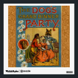 """Dinner Party Vintage dogs Wall Sticker<br><div class=""""desc"""">The Dog&#39;s Grand Dinner Party vintage 1869 This antique doggie dinner party is a wonderful vintage dog illustration from a children&#39;s book published in 1869. What a fun doggy theme for a vintage party! These sweet dogs are dressed in Victorian dog dress, all having the time of their life at...</div>"""