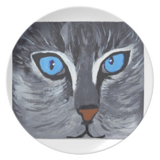 dinner plate with hand painted cat face bright