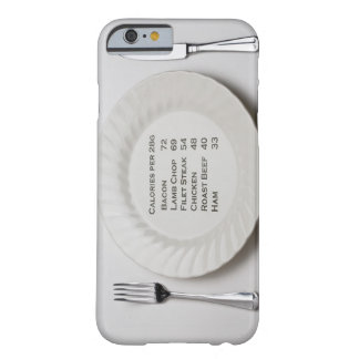 Dinner plate with list of meat calories on it barely there iPhone 6 case