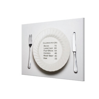 Dinner plate with list of meat calories on it stretched canvas prints