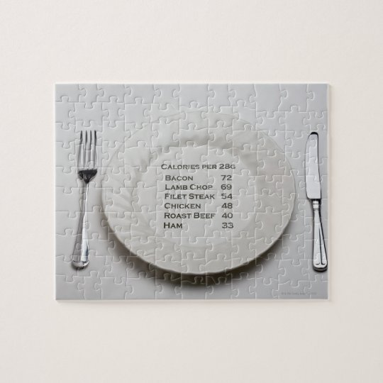 Dinner plate with list of meat calories on it jigsaw puzzle