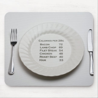 Dinner plate with list of meat calories on it mousepad