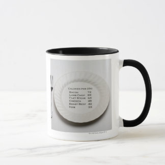 Dinner plate with list of meat calories on it mug