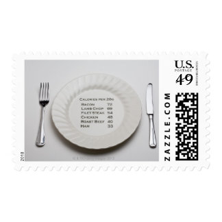 Dinner plate with list of meat calories on it postage