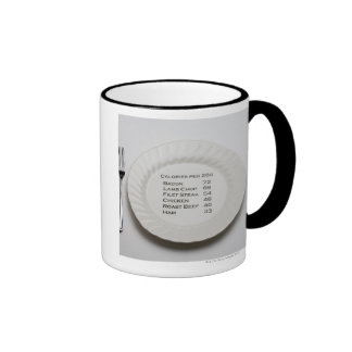 Dinner plate with list of meat calories on it ringer coffee mug
