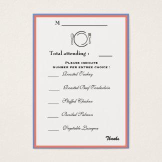 Dinner Selection Card