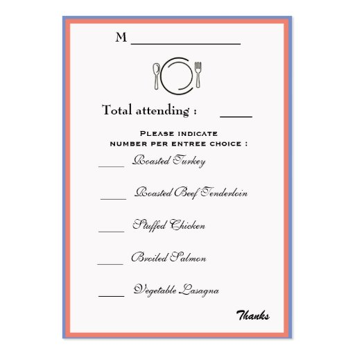 Wedding Reception Dinner Selection card Business Card