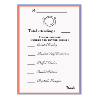 Dinner Selection Card Large Business Card