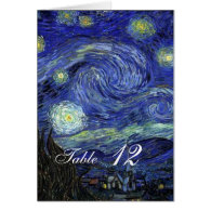 Dinner table card. Vincent van Gogh, Starry Night Greeting Card