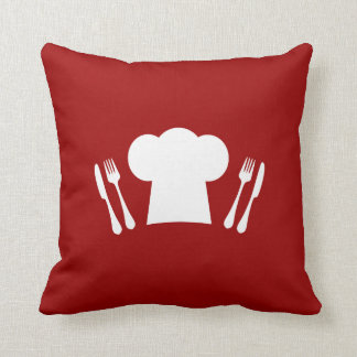 Dinner Time Master Chef Cute Hat and Cutlery Throw Pillow