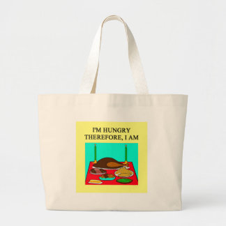 dinner time philosophy large tote bag