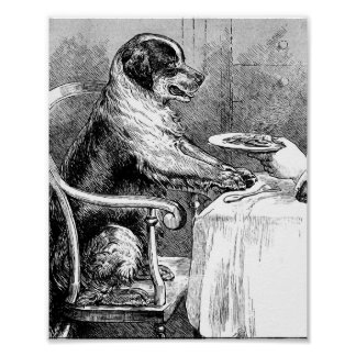 Dinner Time Vintage Dog Illustration Poster