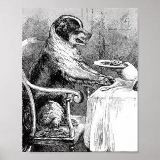 Dinner Time Vintage Dog Illustration Posters