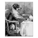 Dinner Time Vintage Dog Illustration Posters