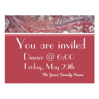 Elegant Dinner Party Invitation Postcards Postcard