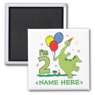 Dino 2nd Birthday 2 Inch Square Magnet