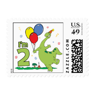 Dino 2nd Birthday Stamps Postage Stamps