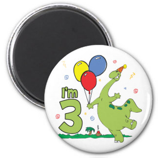 Dino 3rd Birthday 2 Inch Round Magnet