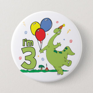 Dino 3rd Birthday Button