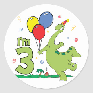 Dino 3rd Birthday Classic Round Sticker