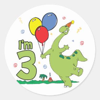 Dino 3rd Birthday Classic Round Sticker