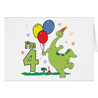 Dino 4th Birthday Invitation Card