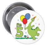 Dino 5th Birthday Button Pinback Button