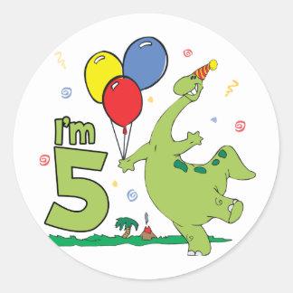 Dino 5th Birthday Classic Round Sticker