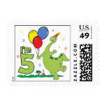 Dino 5th Birthday Postage Postage Stamps