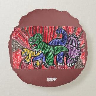 Dino art round pillow