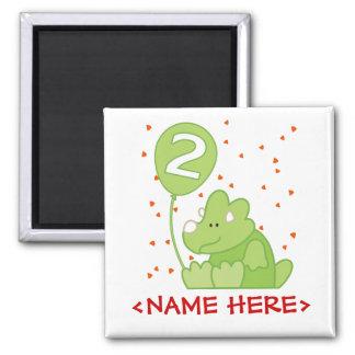 Dino Baby 2nd Birthday 2 Inch Square Magnet