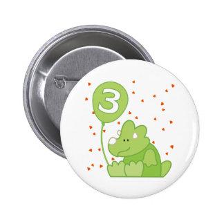 Dino Baby 3rd Birthday Pinback Button