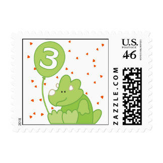 Dino Baby 3rd Birthday Postage Stamps