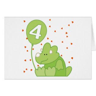 Dino Baby 4th Birthday Invitation Greeting Cards