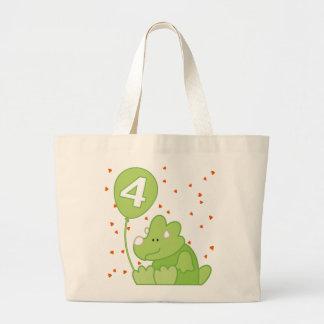 Dino Baby 4th Birthday Large Tote Bag